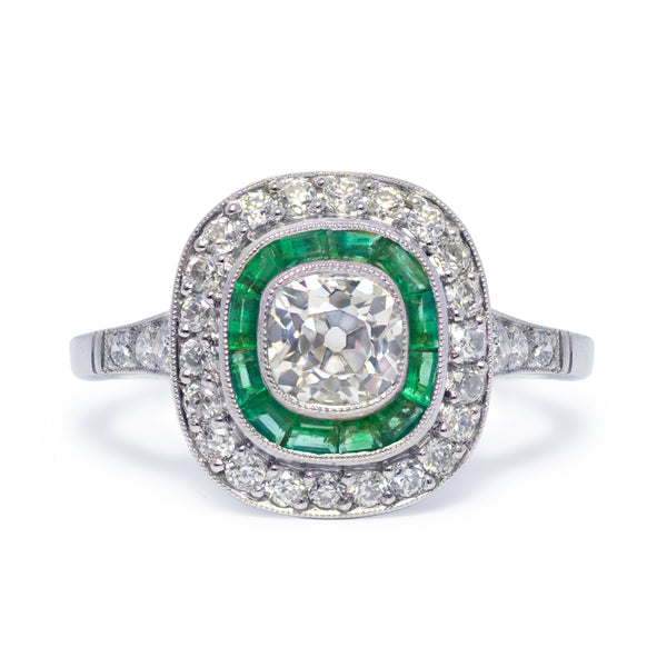 Art Deco Inspired Antique Cushion Diamond and Emerald Engagement Ring