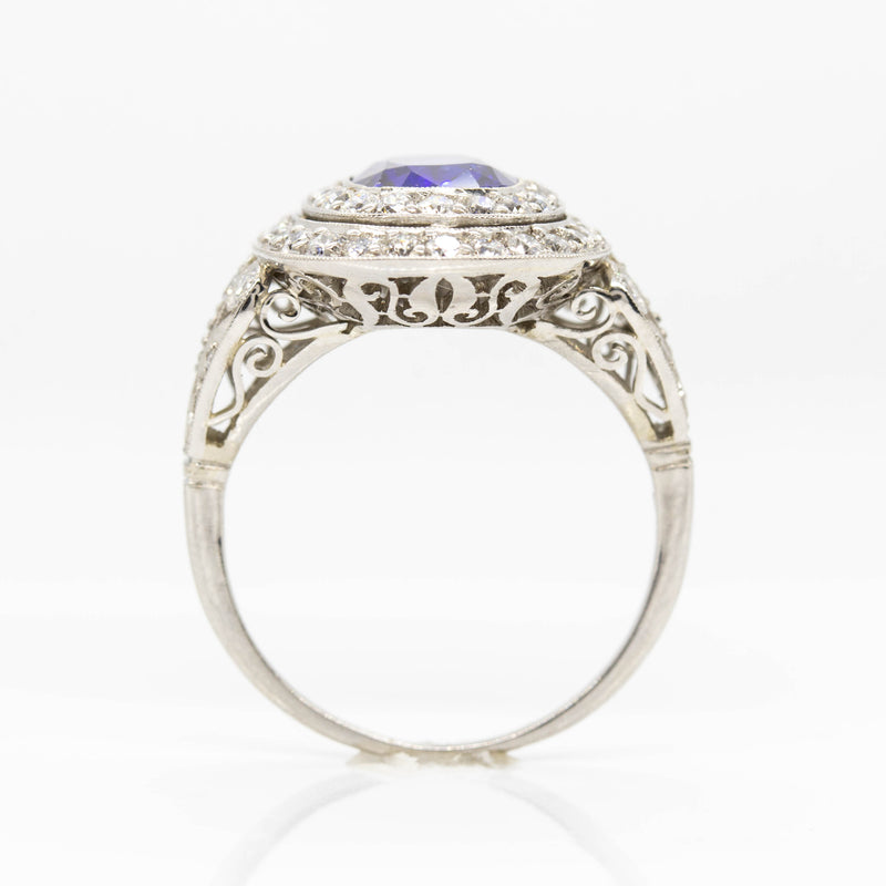Platinum Sapphire and Old Mine cut Diamond Halo Ring