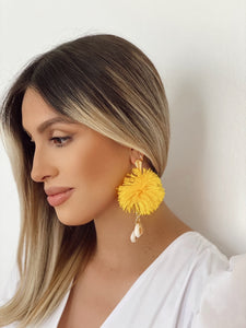 Yellow - pompom earrings