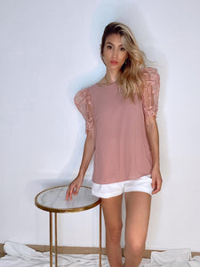 Pink top with lace sleeves