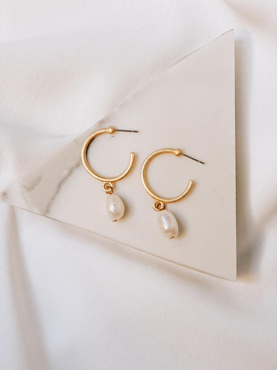 Gold hoops with hanging pearl