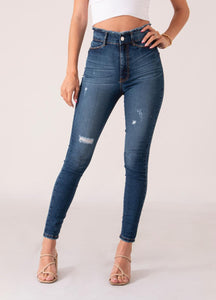Ripped waist dark blue jean