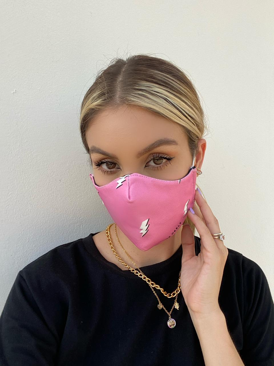Pink lightnings protective face mask