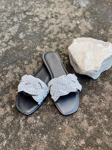 Becca black sandals with pearls