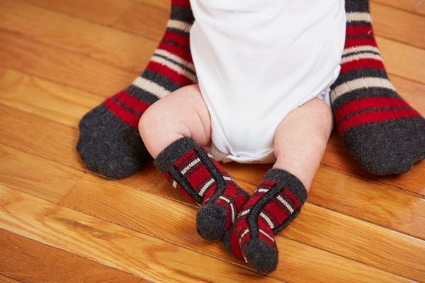 lisa b. red baby plaid wool cashmere socks