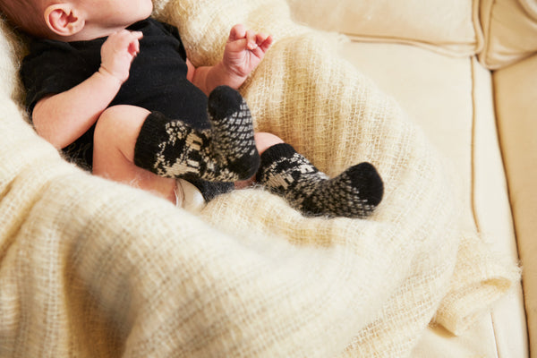 lisa b. black baby reindeer wool cashmere socks
