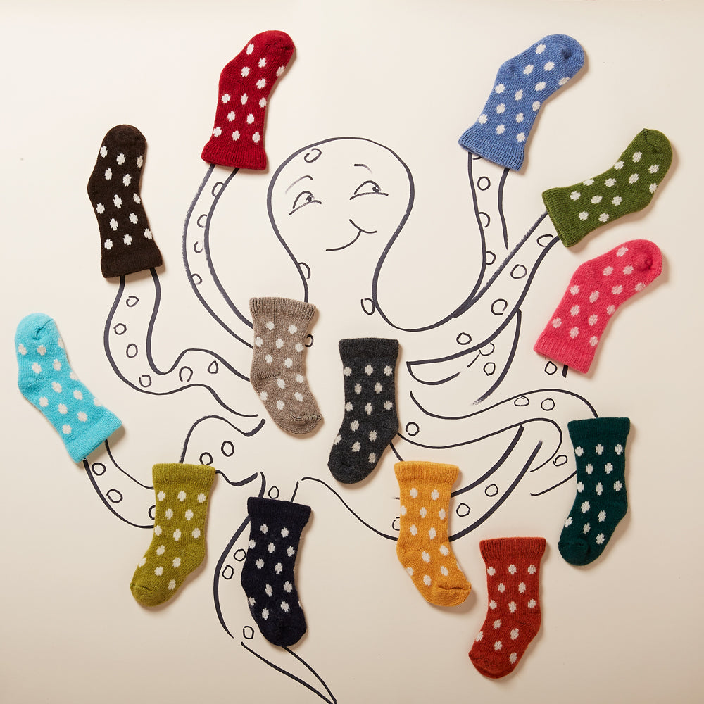 dot wool cashmere baby socks | lisa b.