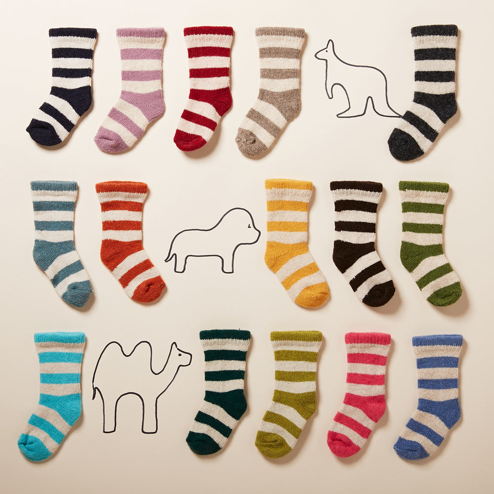 rugby stripe wool cashmere baby socks | lisa b.