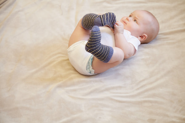 lisa b. | Baby Bundles | SOFT Wool + Cashmere Pin Stripe Socks 4-pack, chambray