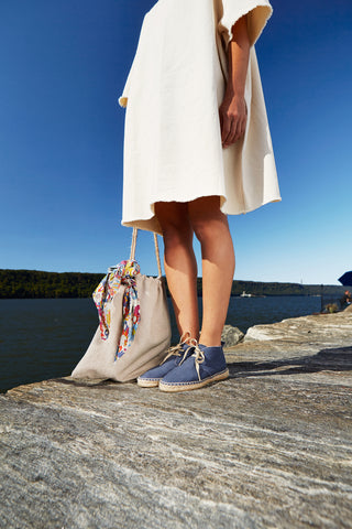 cotton pique draw string bag in sand and espadrille bootie in blue