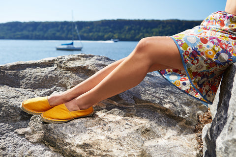 classic cotton pique espadrille in yellow