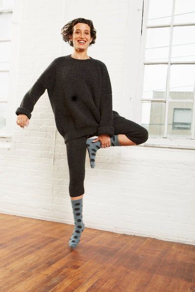 women's giant dot wool + cashmere crew length socks in mineral
