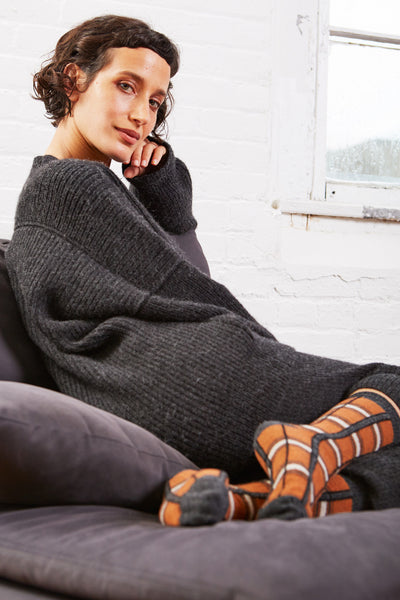 women's plaid wool + cashmere crew length socks in toffee