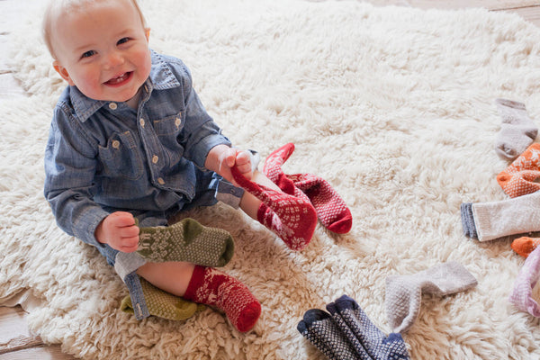 lisa b. Baby Wool + Cashmere Reindeer Socks in Red