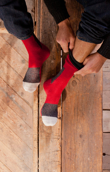 lisa b. Men's Wool + Cashmere Patchwork Socks in Red