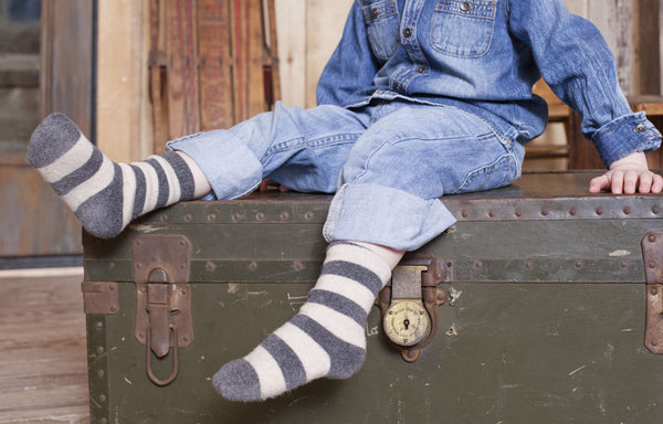 toddler rugby stripe wool + cashmere socks in grey heather