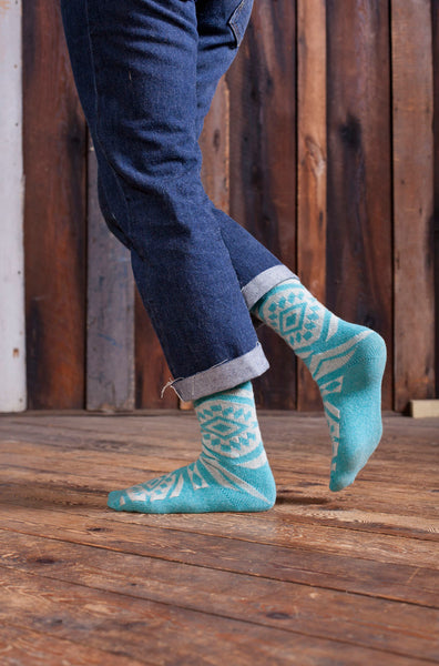 lisa b. Womens Wool + Cashmere Trouser Aztec Socks in Turquoise