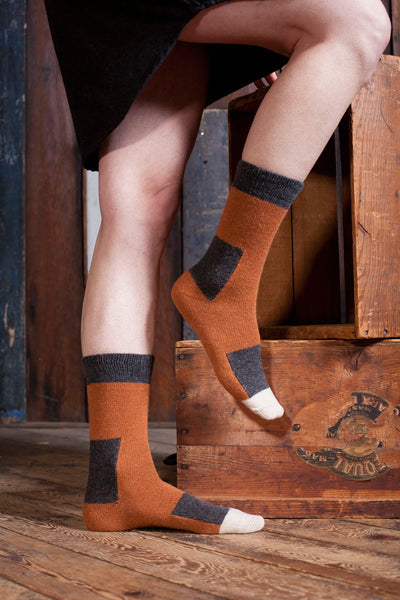 lisa b. Womens Wool + Cashmere Trouser Patchwork Socks in Toffee
