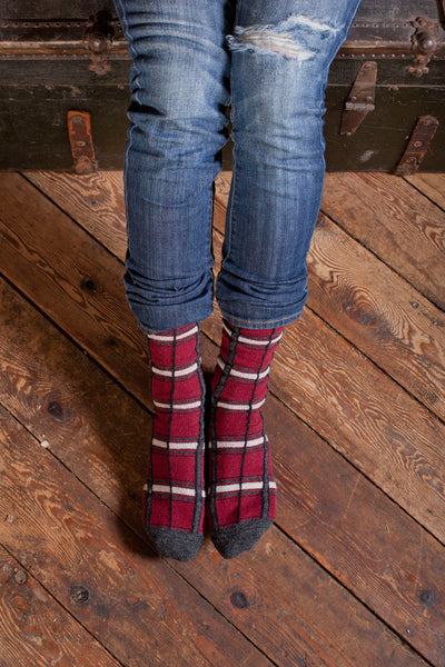 lisa b. Womens Wool + Cashmere Trouser Plaid Socks in Black Cherry