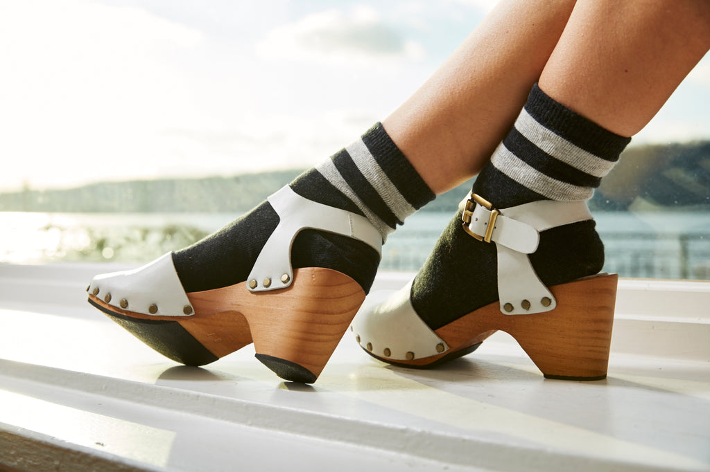 lisa b. peep toe ankle strap leather clogs in chalk, cotton stripe anklet socks in black