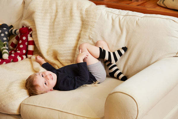 lisa b. toddler black rugby stripe wool cashmere socks