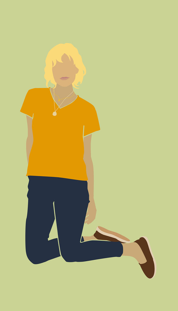 lisa b. short sleeve v neck tee in mango | illustration by Armand Silvani