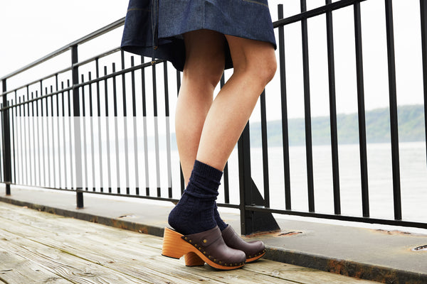 lisa b. wool cashmere chunky cable crew in navy blue and dark brown classic leather high heel clog