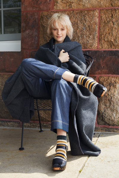 lisa b. black leather peep toe clogs and yellow wool cashmere striped rip shortie socks