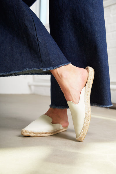 lisa b. creme leather mule espadrille