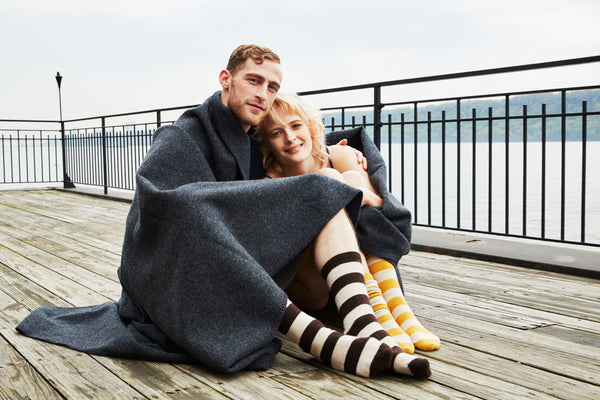 lisa b. wool cashmere rugby stripe crew socks men and women