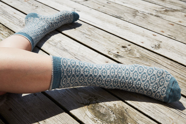 lisa b. wool cashmere medallion crew socks in mineral