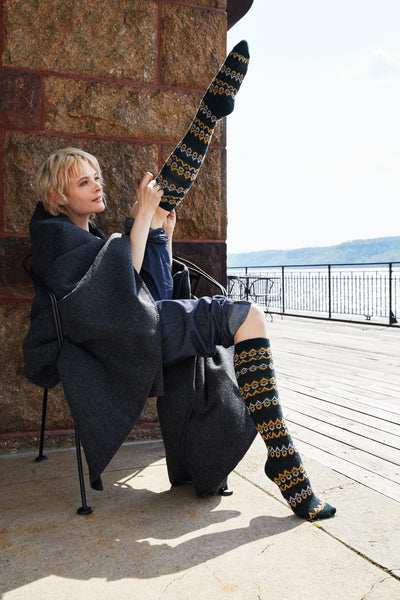lisa b. women's fair isle wool + cashmere knee high socks