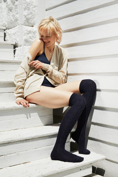 lisa b. wool cashmere cable over the knee socks in navy