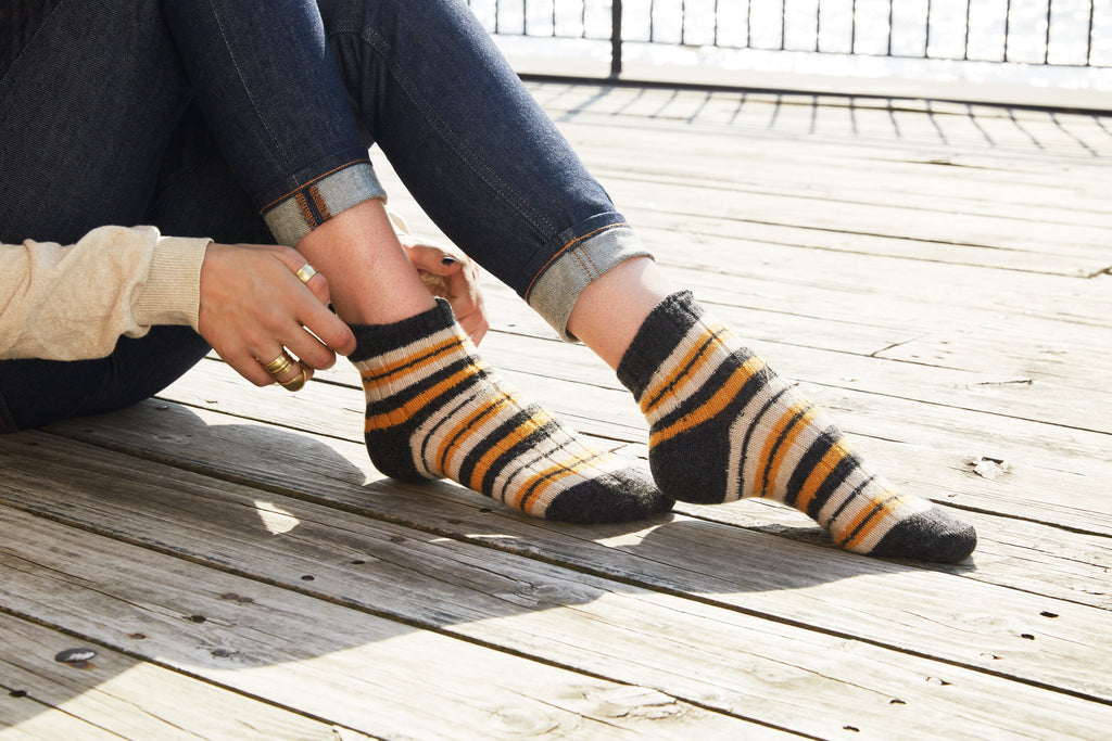 lisa b. wool cashmere yellow striped rib shortie socks