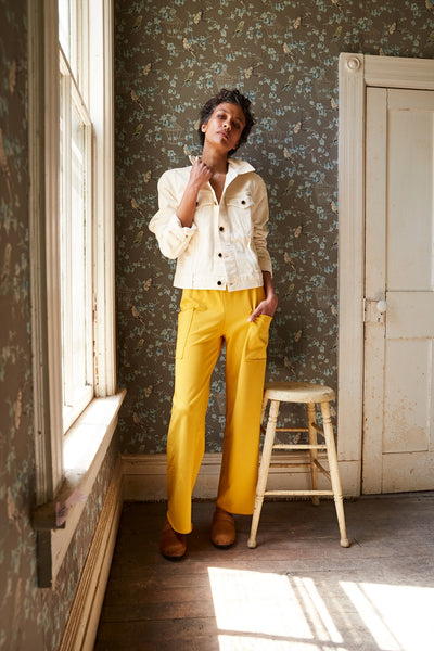lounge pant in mustard and cow hair low heel classic clog in camel | lisa b.