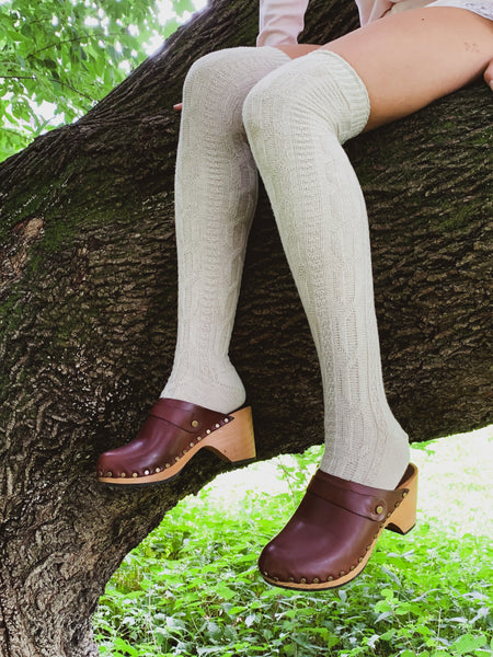creme cable over the knee wool cashmere socks and acorn high heel classic clog | lisa b.