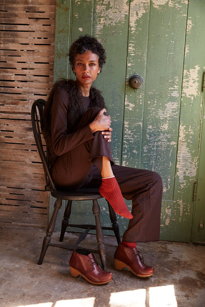 women's wool cashmere tipped rib shortie in spice, toe seam bootie clog in acorn, cotton knits in dark brown | lisa b.