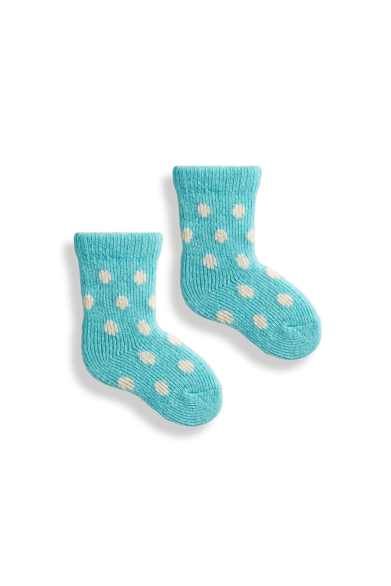arctic blue baby classic dot wool cashmere socks