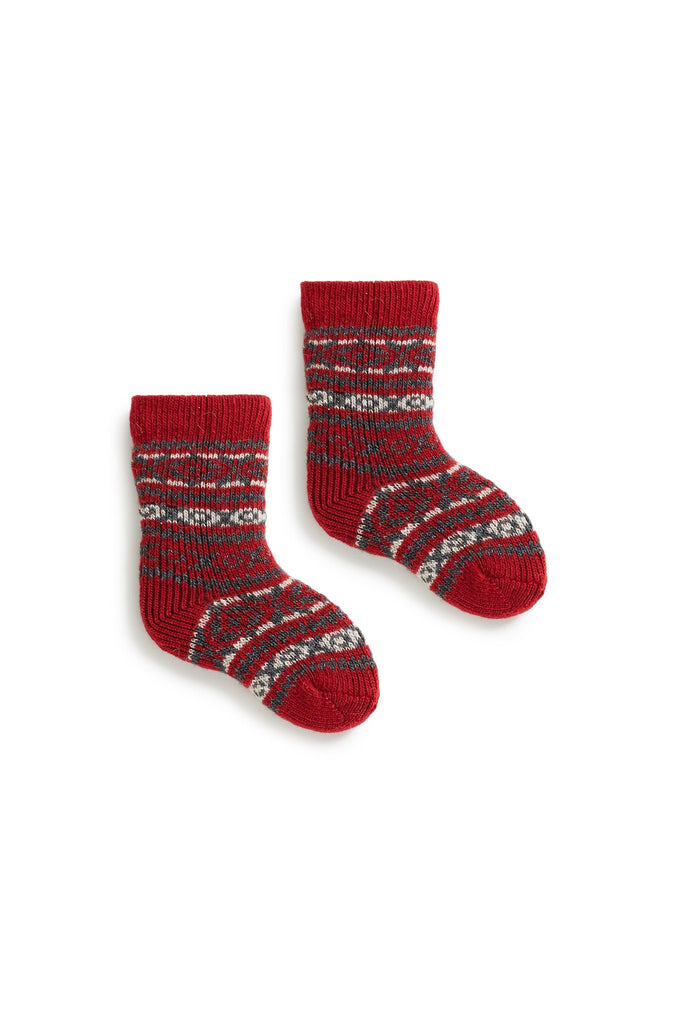 baby fair isle wool + cashmere socks red