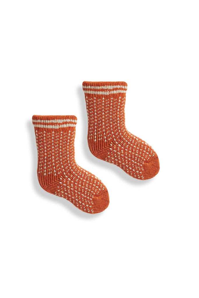 pumpkin orange baby nordic birdseye wool cashmere socks