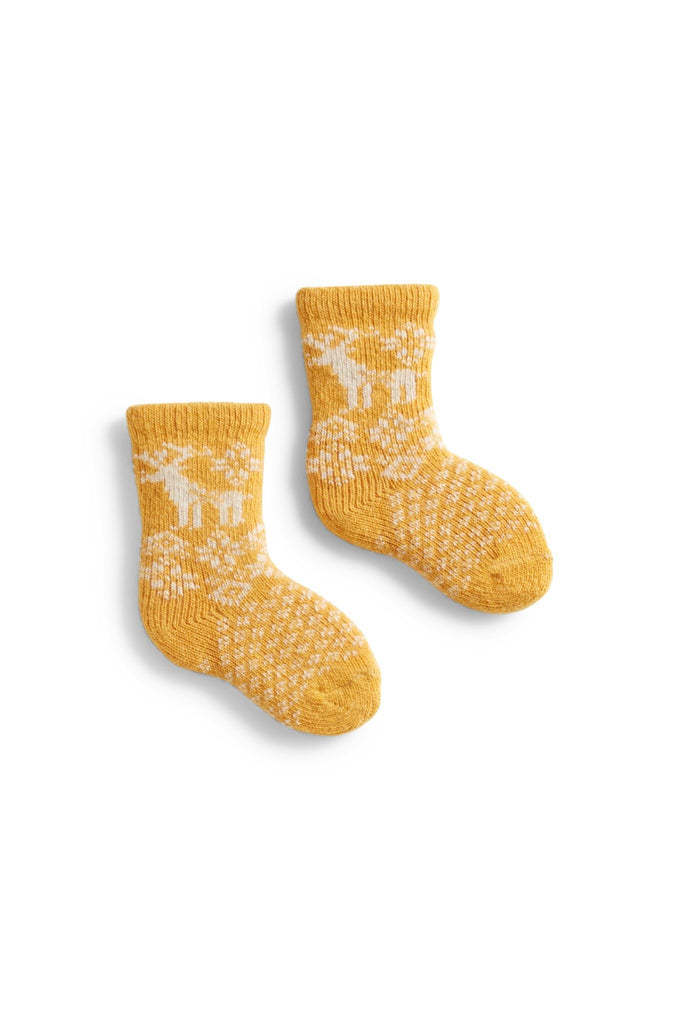 yellow baby reindeer stripe wool + cashmere socks