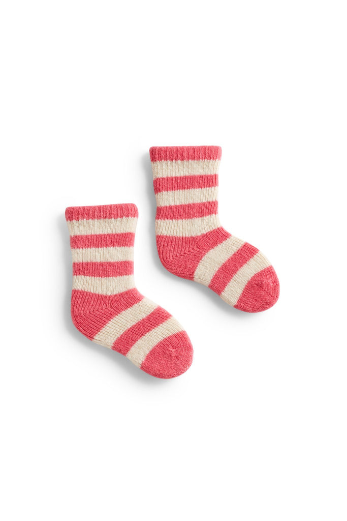azalea, hot pink baby rugby stripe wool cashmere socks