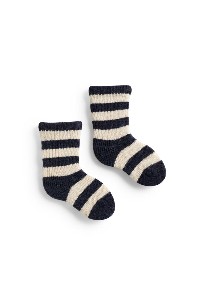 navy baby rugby stripe wool cashmere socks