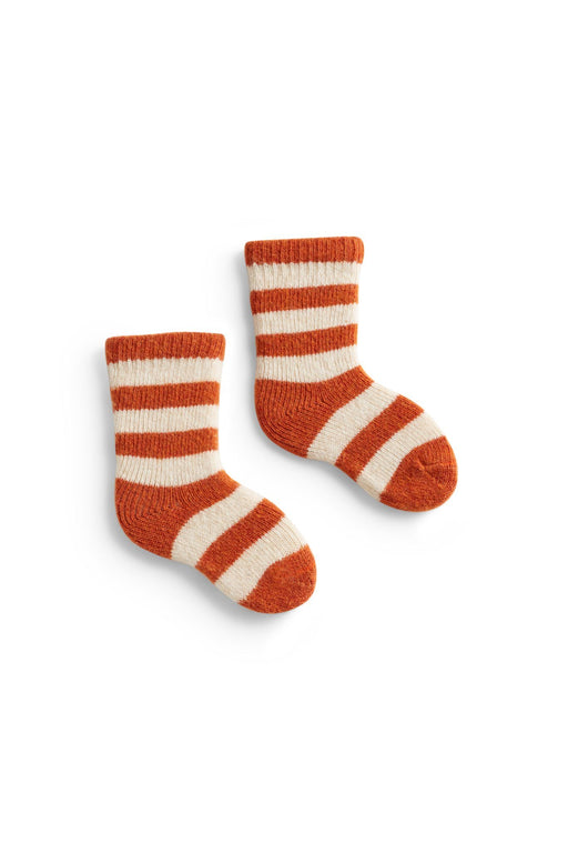 pumpkin, orange baby rugby stripe wool + cashmere socks