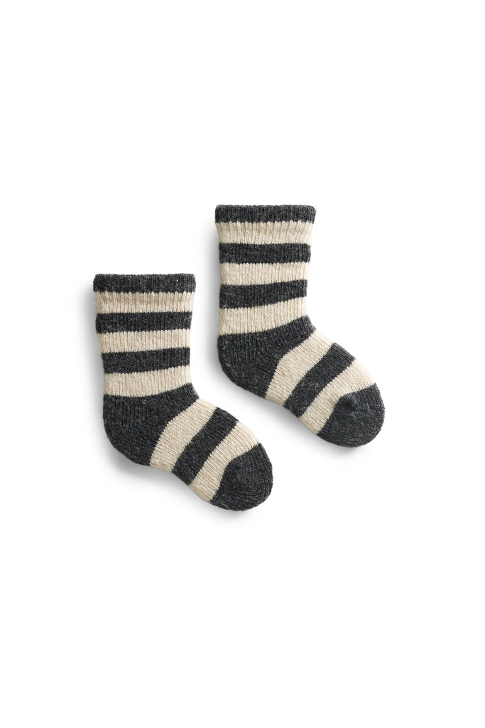 charcoal, dark grey baby rugby stripe wool cashmere socks