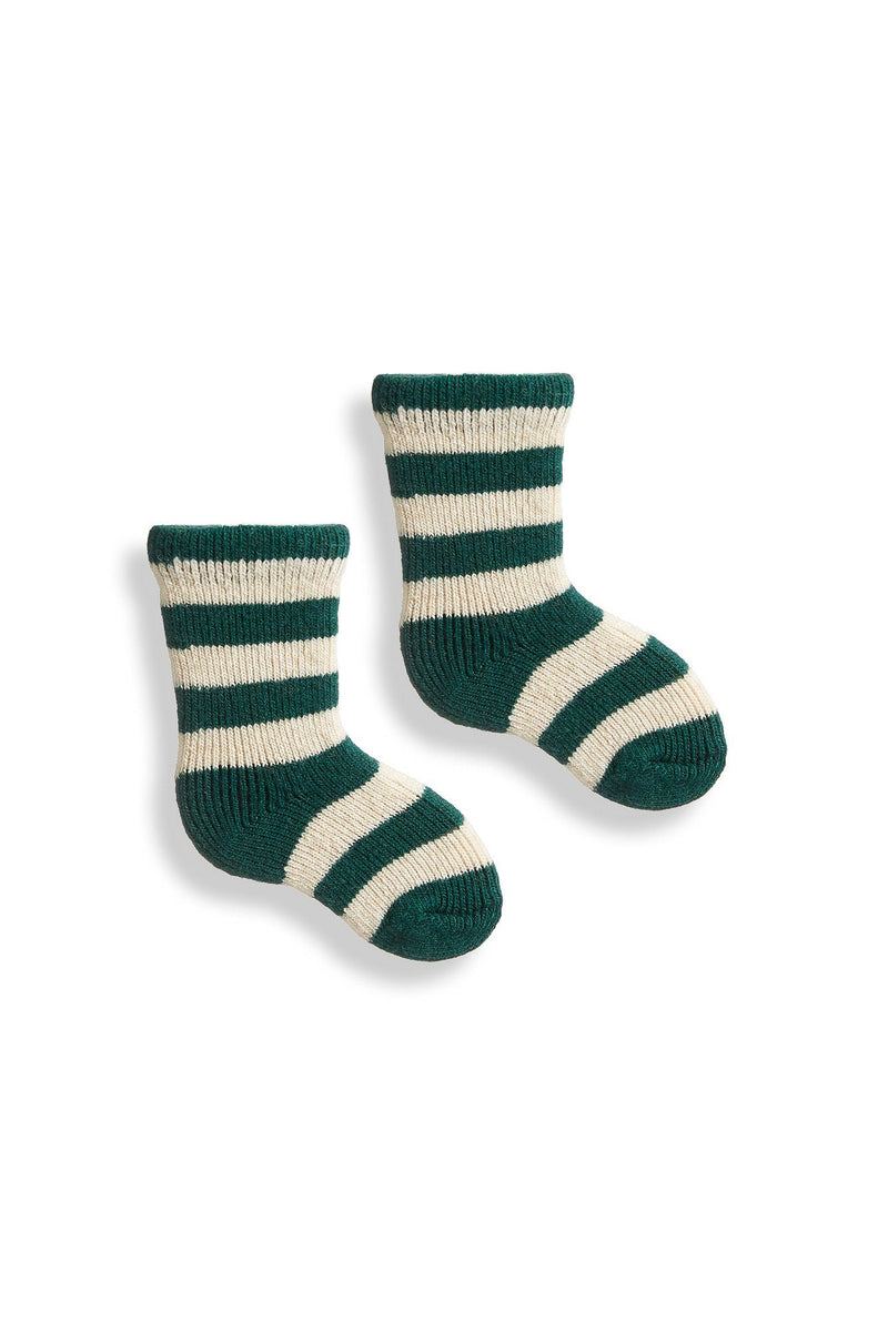 emerald baby rugby stripe wool cashmere socks