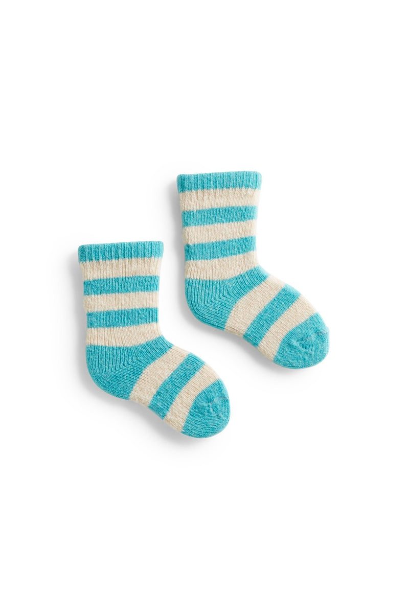 arctic blue turquoise baby rugby stripe wool cashmere socks