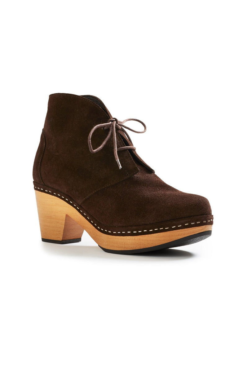 smooth toe suede bootie clogs in dark brown