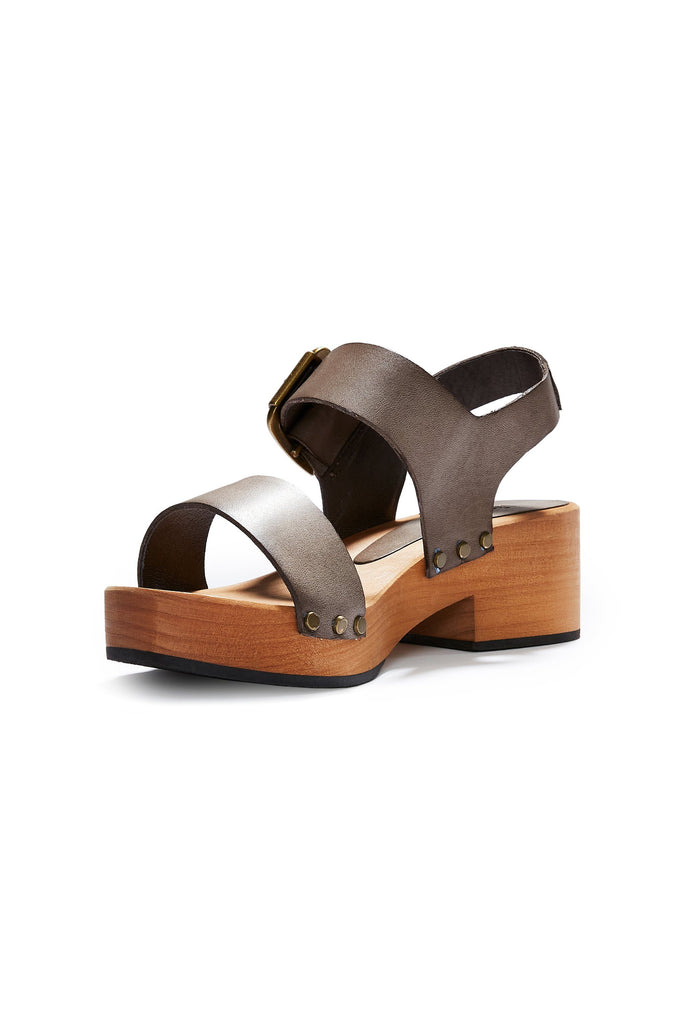 double strap clogs in dark taupe