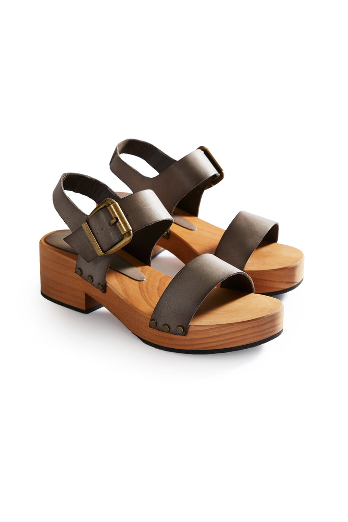 double strap leather clogs in dark taupe